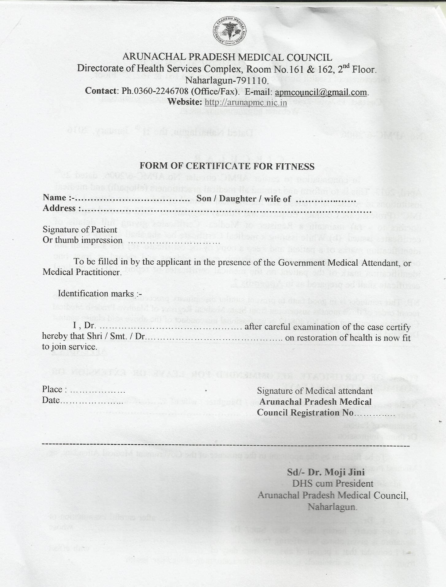 Website of arunachal pradesh medical council circular form of certificate of fitness yelopaper Images